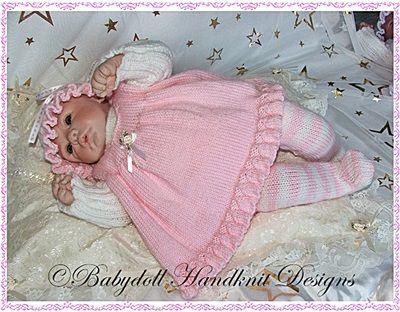 Pinafore y rayas medias establecen 16-22 pulgadas muñeca / 0-3m baby-medias, modelo que hace punto, delantal, muñeca, renacido, bebé, suéter