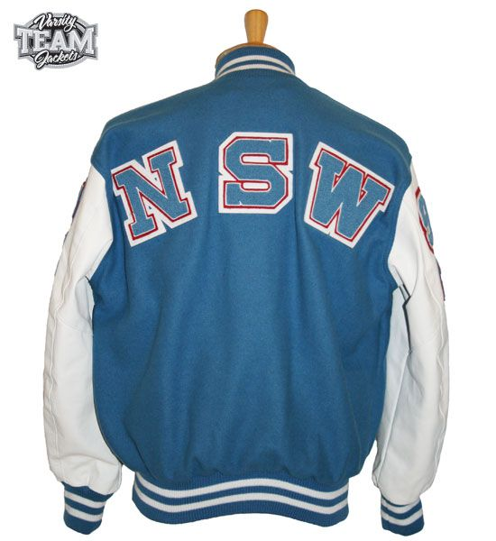 NSW custom leather and wool varsity jacket with large chenille patches by Team Varsity Jackets. www.teamjackets.net www.facebook.com/TeamVarsityJackets