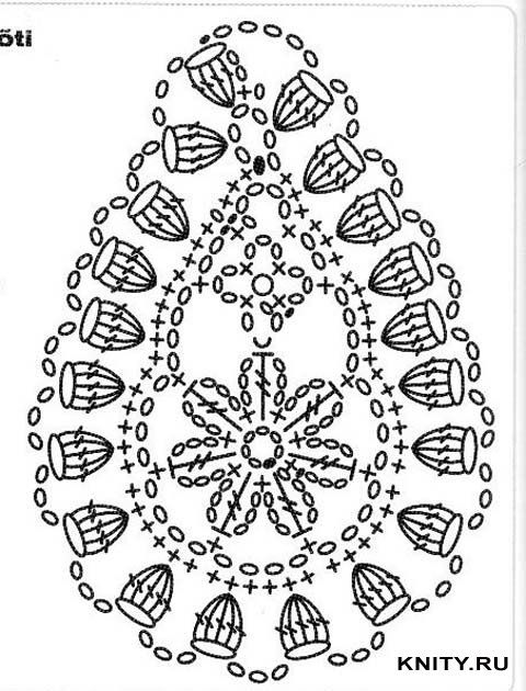 Crochet Paisley - Chart. Done in all white would make a cool teardrop shaped ornament.