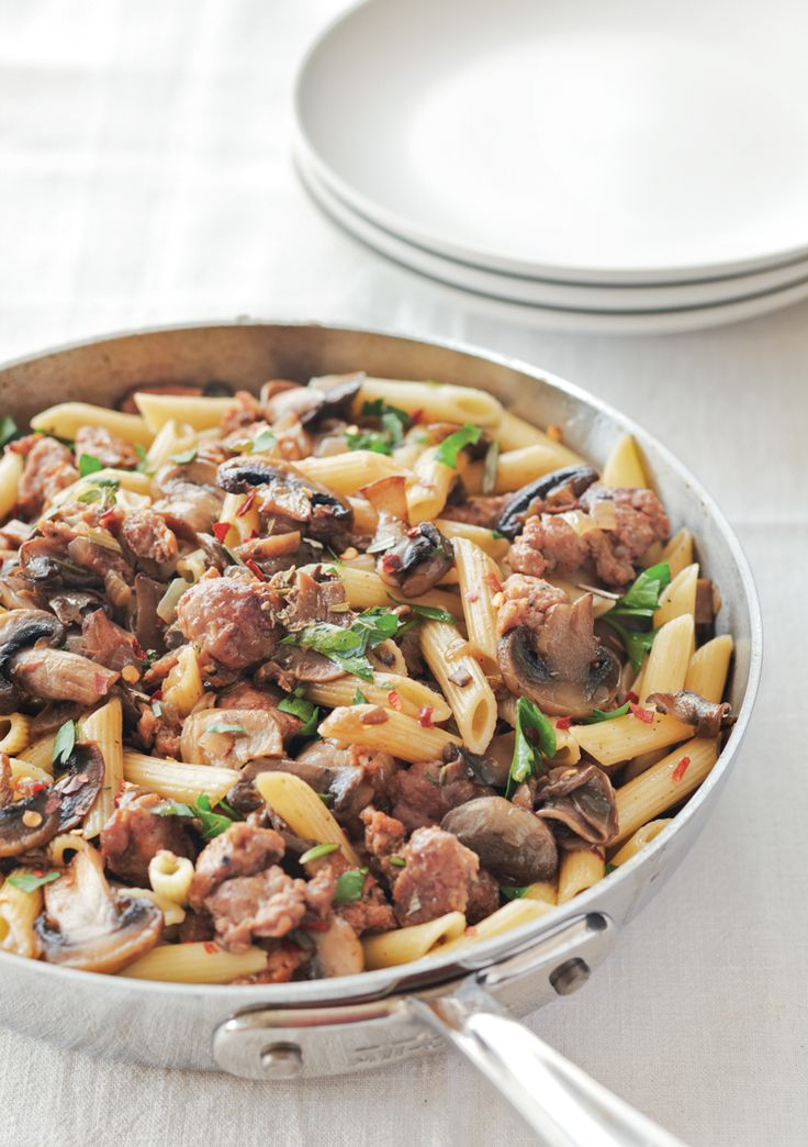 Penne with Mushrooms and Turkey Sausage | Find Turkey Sausage http://www.hickoryfarms.com/item/turkey-summer-sausage-10-oz-3-pack/005912#.USPnk6WyCnQ