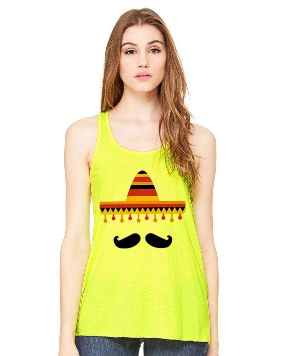 Mexican Sombrero Mustache Funny Tank Top #cincodemayo