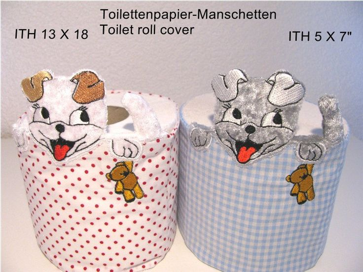 ITH-Stickdatei Klopapier-Manschette 5 13 x 18 cm, Stoffhund, Toilet Roll Cover, WC-Papier-Manschette, Banderole, Badezimmer von BornToPunching auf Etsy