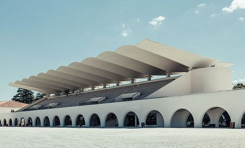 Zarzuela Hippodrome, 1935, Madrid, Spain - Carlos Arniches, Martín Dominguez, Eduardo Torroja Photo (C) Ximo Michavila.