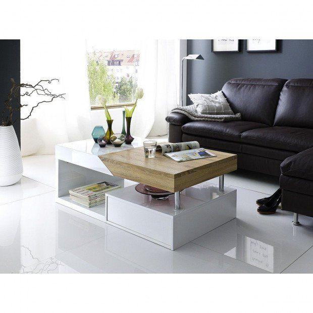 Table Basse Avec Rangement Coloris Blanc Laque Et Bois Table Basse Design Table Basse Table Basse Rangement