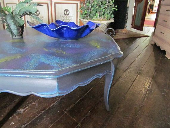 Peacock coffee table by diypaint on etsy paint for Peacock coffee table