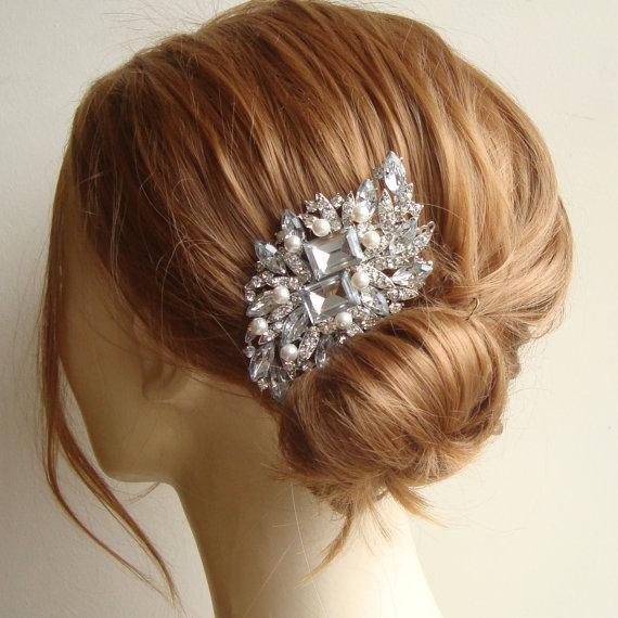 Art Deco Crystal Bridal Hair Comb, Rhinestone Vintage Hair Comb, Side Tiara Comb, Ivory Bridal White Pearls, Old Hollywood, GERTRUDE