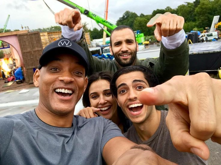 Production for the live-action adaptation of Disney's #Aladdin, directed by Guy Ritchie, is officially underway! Meet the cast: Will Smith as Genie, Mena Massoud as Aladdin, Naomi Scott as Jasmine, and Marwan Kenzari as Jafar. (📷 via Will Smith)