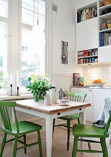 I would LOVE to drink my morning coffee seated in a green chair in a bright, sunny kitchen nook.