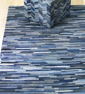 Recycled denim rug - Lots of strips may mean lots of sewing but the color variation is worth the time.  (projects, crafts, DIY, do it yourself, interior design, home decor, fun, creative, uses, use, ideas, inspiration, 3R's, reduce, reuse, recycle, used, upcycle, repurpose, handmade, homemade, materials, jeans)