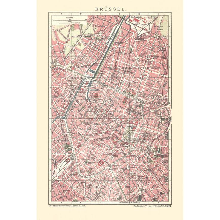 Brussles - vintage map reproduction: handmade paper print. Elegant antique map art.