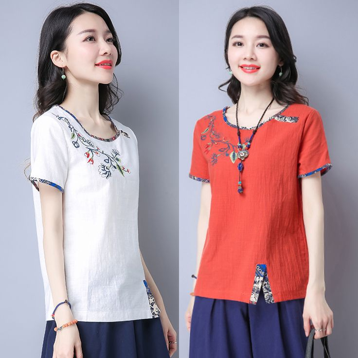 >> Click to Buy << 2017 summer patchwork embroidery t-shirt women print short-sleeve loose chinese trend vintage top women's Retro shirt  #Affiliate