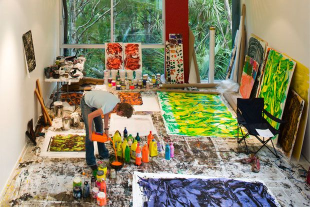 Judy Millar in the studio - Could do some serious Foot Painting in here. Put on the music, pour some paint and dance....