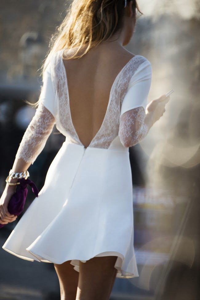 Open back + white lace dress