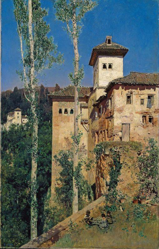 La Torre de las Damas en la Alhambra de Granada, Martín Rico y Ortega, 1871, Oil on canvas
