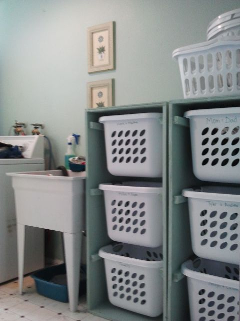 Laundry Dresser - Love this idea.  I would do 3 dressers with 2 baskets to give a nice folding area.