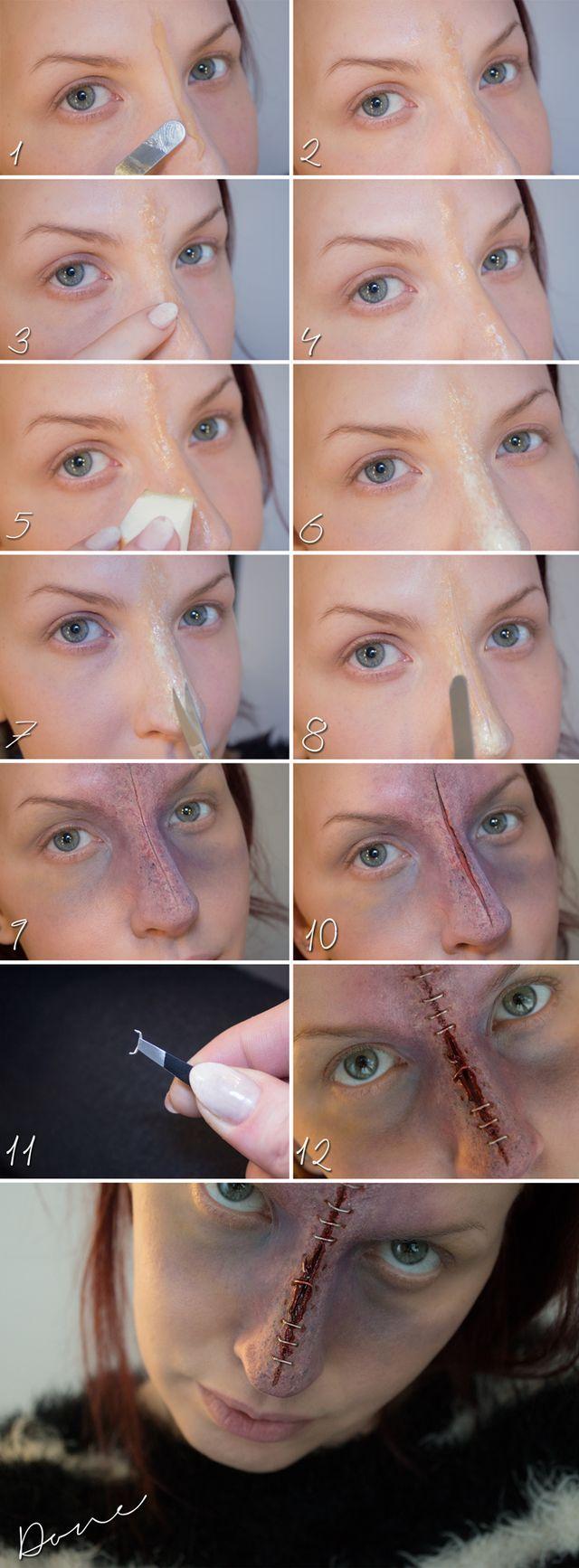 Här kommer en tutorial på detta sår. Där kan ni även se vad jag använde. Hoppas ni gillar:)   1: Rulla ihop lite vax, sätt det på näsan. Ta en spatel med lite vaselin på och dra ut vaxet mot sidorna (