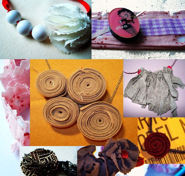 Upcycled jewelry from fabric.