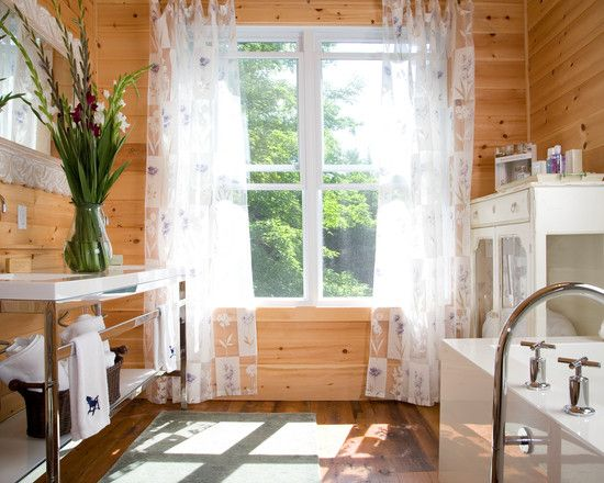 Wonderful knotty pine wood flooring rustic bathroom with Curtains for wood paneled room
