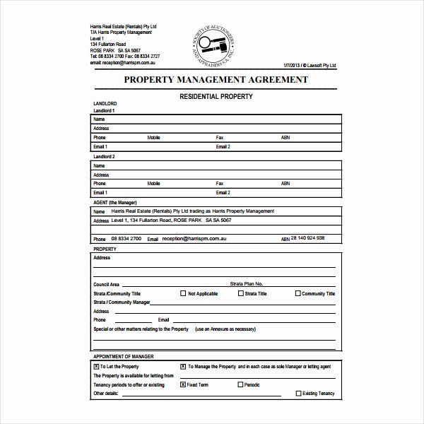 Property Management Contract Template In 2020 Contract Template