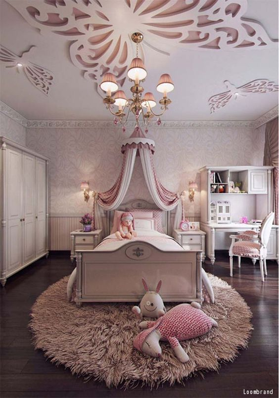 A Beautiful Childu0027s Room With Hardwood Floors And Pink Accents. Click To  See Ideas For