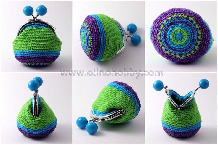 вязаный кошелек с фермуаром, вязаный кошелек на застежке с шариками, кошелек вязаный крючком, стильный вязаный кошелек с рисунком, кошелек с синими шариками