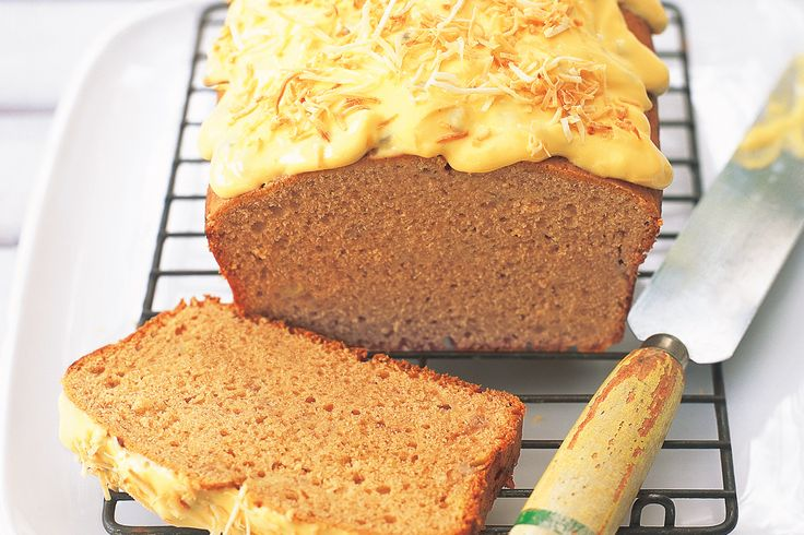 Cinnamon-spiced banana cake with passionfruit icing makes a charming tea-time treat.
