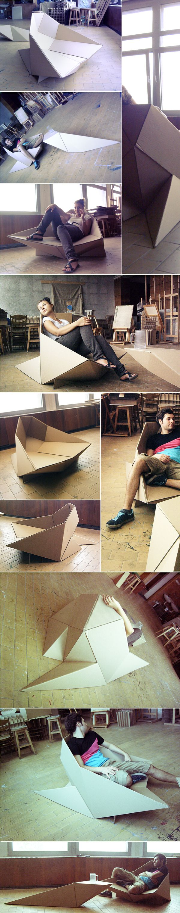 Cardboard chair - such an excellent idea for an exhibition of some sort.  I have seen cardboard stools used at a film festival once before and found it incredible the way in which they transformed a simple event space.  They create such a dramatic effect, hold so much weight and are easy to construct and compact.