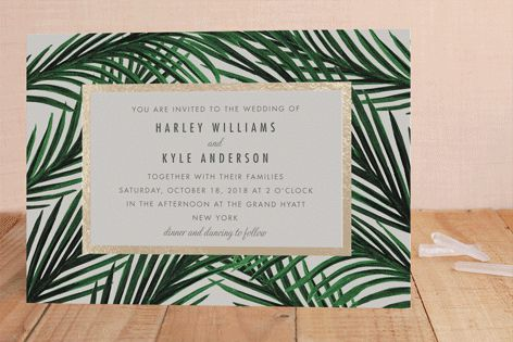 "minted.com ""Tropical Love"" - Destination, Modern Foil-pressed Wedding Invitations in Gold by Elly."