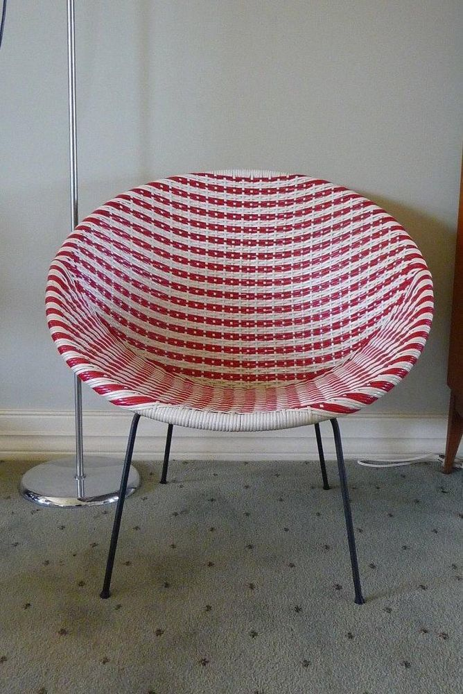adult saucer chair best hunting chairs for ground blinds retro mid century parker era red & white woven plastic sz | sallle_sells ...