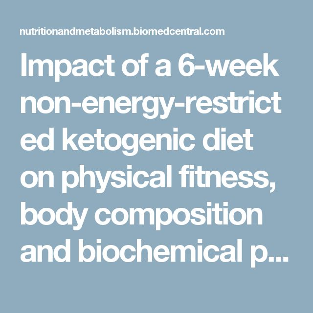 Impact of a 6-week non-energy-restricted ketogenic diet on physical fitness, body composition and biochemical parameters in healthy adults | Nutrition & Metabolism | Full Text