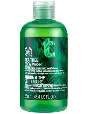 Body (acne-fighting body wash): Bacne, buttne—meet tea tree. The Body Shop Tea Tree Body Wash obliterates breakouts