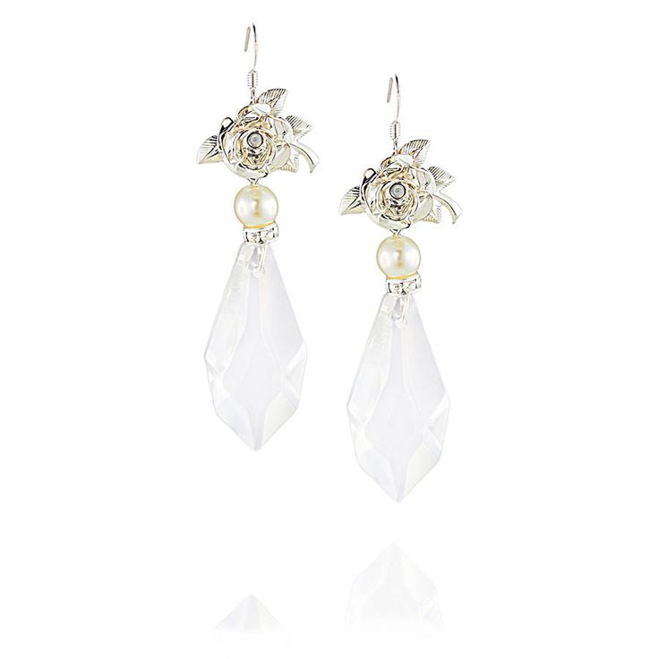 Graceful Antique Italian glass crystal drop earrings with a demure silver rose and sparkling Swarovski crystal rondelle. www.jyjewels.com