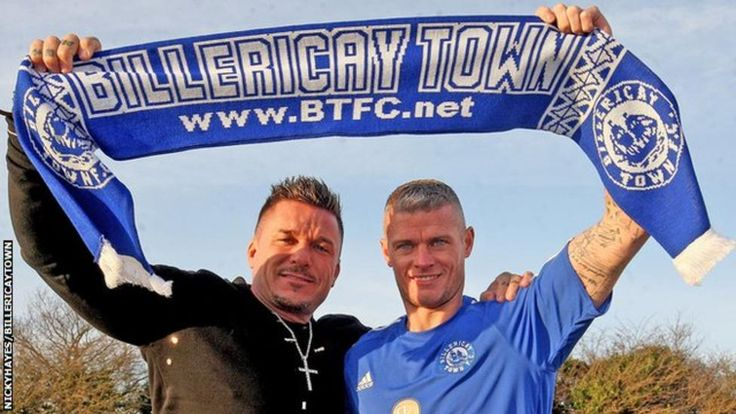 Billericay Town manager Glenn Tamplin with Paul Konchesky