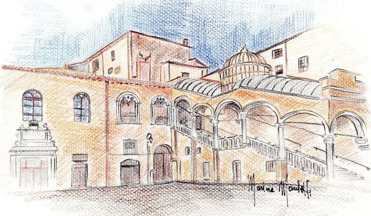 #Piazza Municipale# Ferrara#marinamarchetti#disegni
