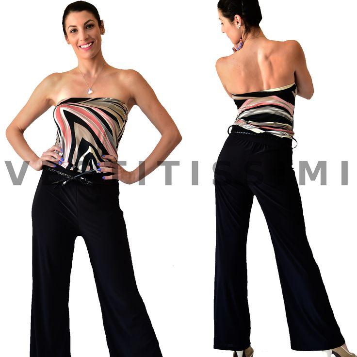 Tuta Elegante donna Overall intera jumpsuit Pizzo Zip