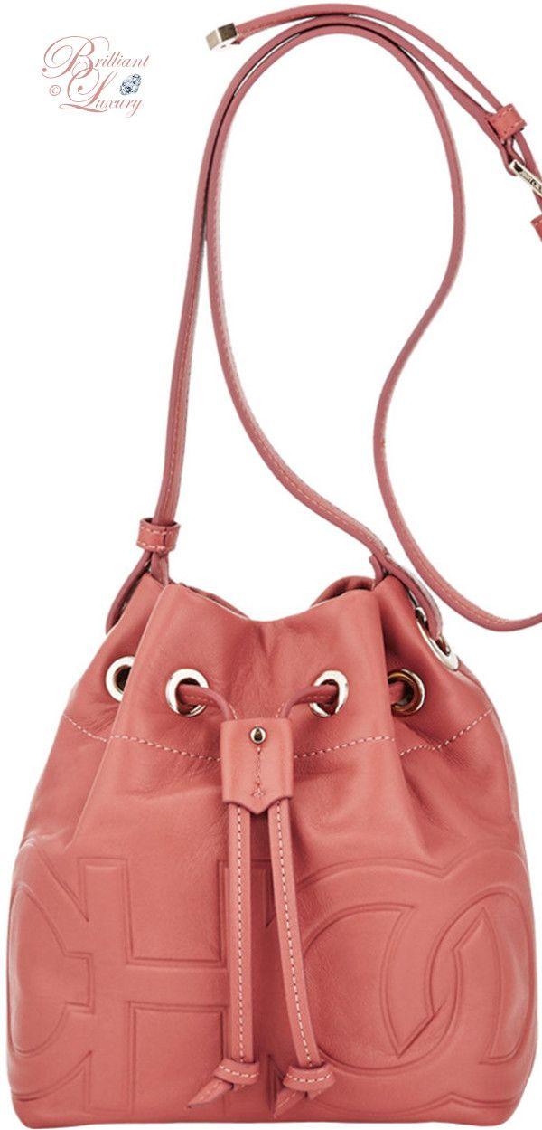 ad28ae4f239 Brilliant Luxury ♢ Jimmy Choo Juno Rosewood Nappa Leather Drawstring Bag  with Embossed Choo Logo