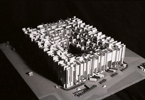 This is actually the model of a proposal for the Pompidou center...