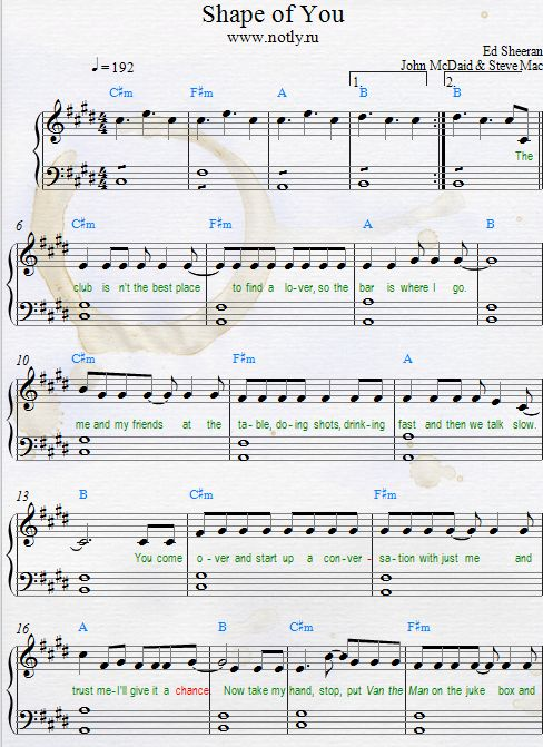 Ed Sheeran — Shape of You Free Piano Sheet Music Download PDF
