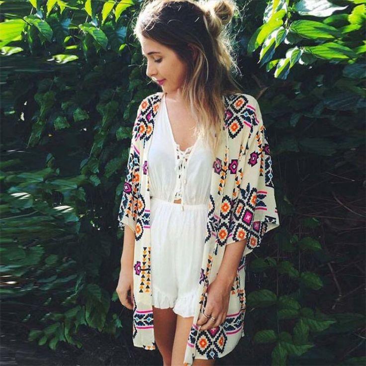 >> Click to Buy << women jacket Summer blusas  jaqueta feminina  Women Geometry Printed Chiffon Shawl Kimono Cardigan  Blouse Cover up plus size TJ #Affiliate