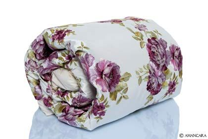100% silk fabric with embroidered peony design.