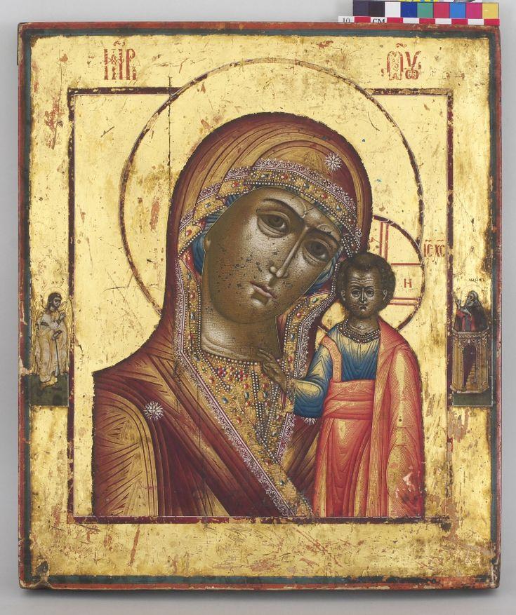 Икона **Богоматерь Казанская** с избранными  святыми на полях  Невьянск середина 19 века