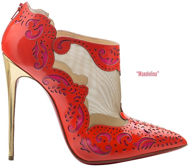 Christian Louboutin 'Mandolina' Red Leather Mesh Ankle Boots Fall 2014 #CL #Louboutins #Booties #Heels