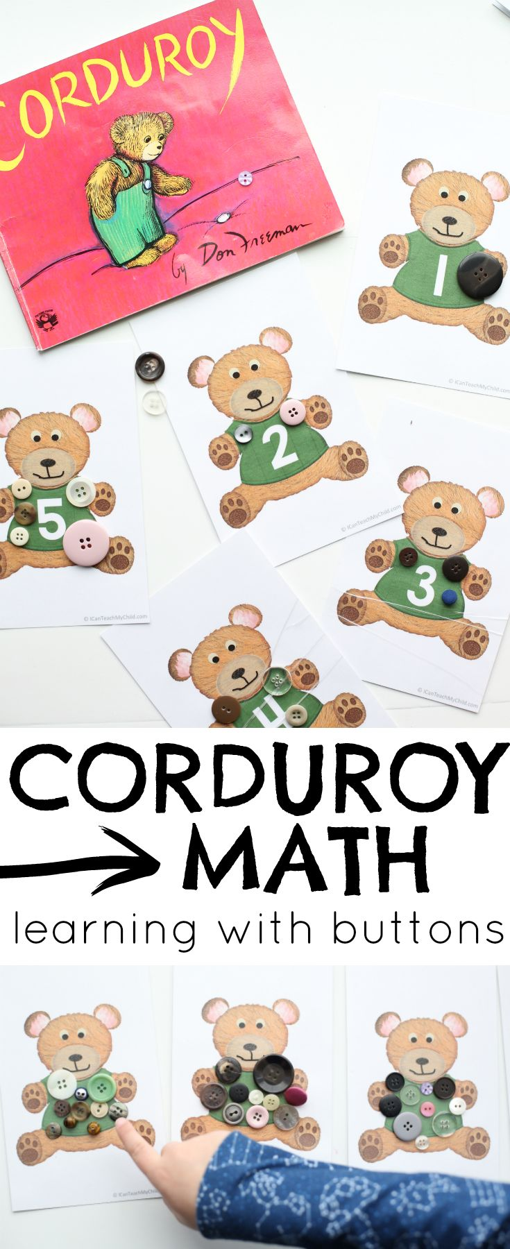Corduroy Math:  Learn One-to-One Correspondence, Number Recognition, and Skip Counting with these free teddy bear printables inspired by the book Corduroy by Don Freeman!