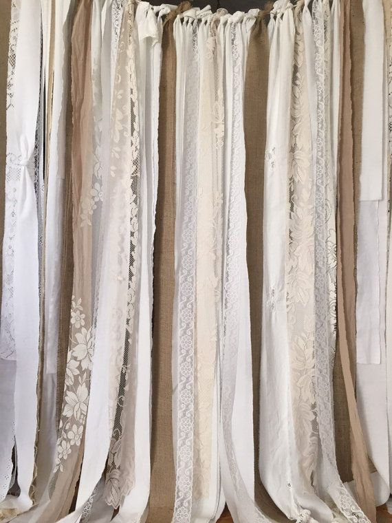 Lovely Burlap Garland Curtain Stunning burlap garland...perfect for event and then for window treatment!!  White, Off White, Ecru, and a