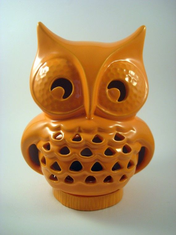Ceramic Vintage Lantern Owl Pumpkin Orange by modclay on Etsy, $45.00