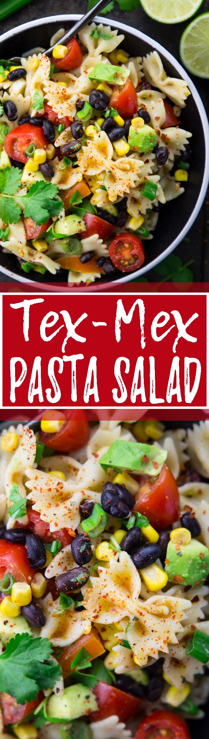 This vegan Tex-Mex pasta salad with avocado and black beans is not only super easy to make but also healthy! I LOVE making it for BBQs and potlucks! <3 | veganheaven.org