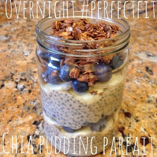 Overnight Chia Pudding Parfait   •1 cup unsweetened almond milk •1 scoop vanilla Perfect Fit Protein •3 Tbs chia seeds •dash of cinnamon •honey or maple syrup to taste