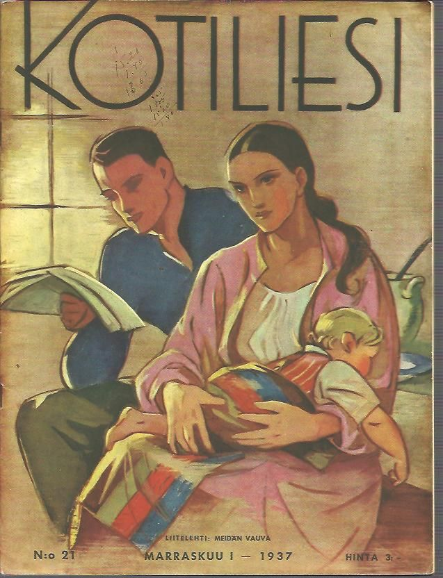 Kotiliesi Magazine cover by Martta Wendelin, 1937.