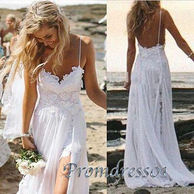 Senior prom dress with straps, modest side slit prom dress for teens, 2016 handmade white chiffon long party dress www.promdress01.c... #coniefox #2016prom