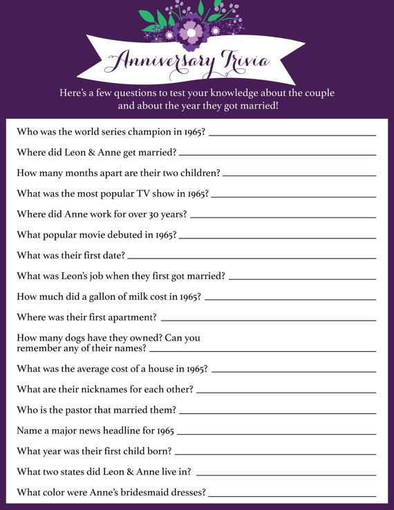 Anniversary Trivia Anniversary Party Game by bellapapercompany
